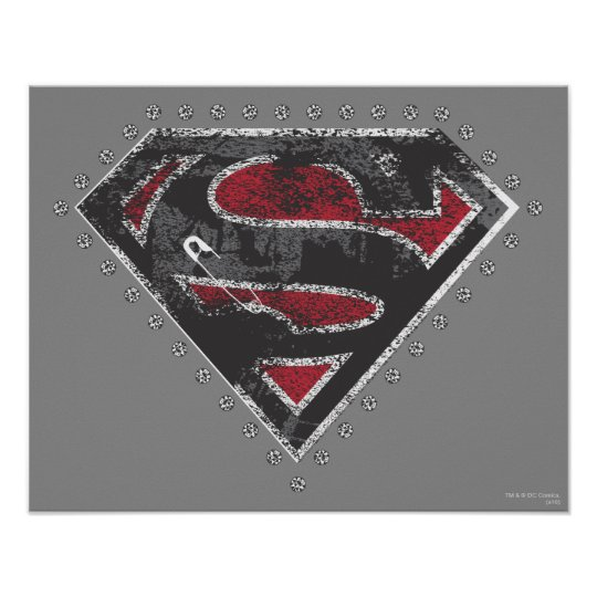 Supergirl Distressed Logo Black and Red Poster