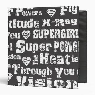 Supergirl Distressed Text Vinyl Binders