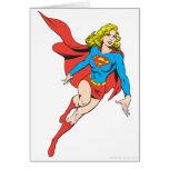 Supergirl en el movimiento tarjeta de felicitación