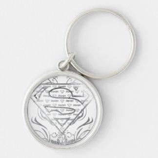 Supergirl Fancy Silver Logo Keychain