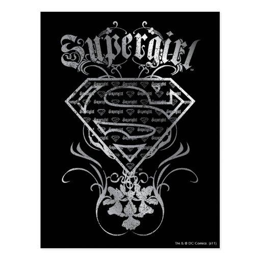 Supergirl Fancy Silver Logo Postcard