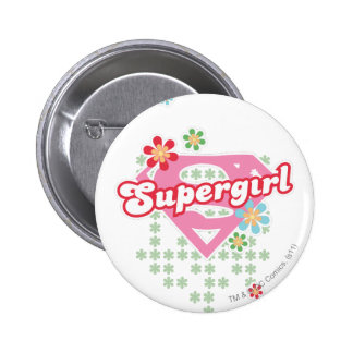 Supergirl Flower Madness Button