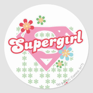 Supergirl Flower Madness Classic Round Sticker