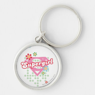 Supergirl Flower Madness Silver-Colored Round Keychain