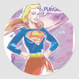 Supergirl Galaxy Classic Round Sticker