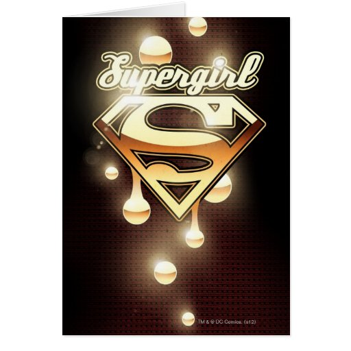 Supergirl Gold Drips Greeting Cards