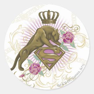 Supergirl Golden Cat 4 Classic Round Sticker