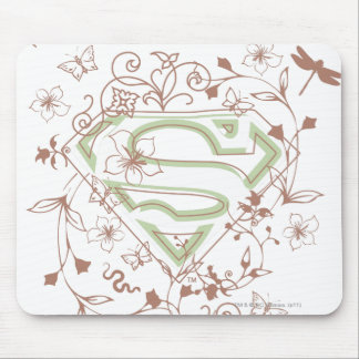 Supergirl Green Floral Logo Mouse Pad