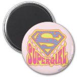 Supergirl Groovy Logo 2 Inch Round Magnet