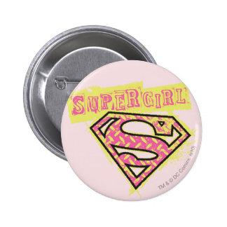 Supergirl Grunge Logo Pink Button
