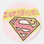 Supergirl Grunge Logo Pink Classic Round Sticker