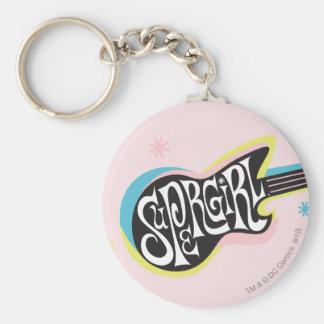 Supergirl Guitar Basic Round Button Keychain