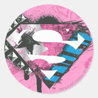 Supergirl Hearts Logo Classic Round Sticker