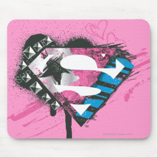 Supergirl Hearts Logo Mouse Pad