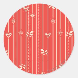 Supergirl Leaf Pattern Red Classic Round Sticker