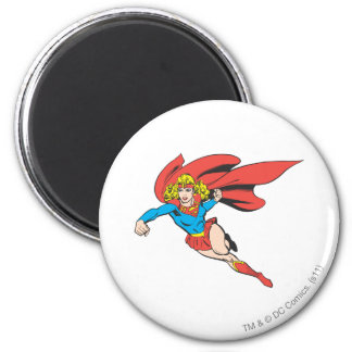 Supergirl Leaps and Punches 2 Inch Round Magnet