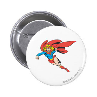 Supergirl Leaps and Punches Pinback Button