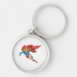 Supergirl Leaps and Punches Silver-Colored Round Keychain