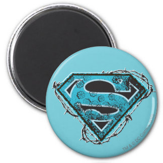 Supergirl Logo Barbed Wire and Flowers 2 Inch Round Magnet
