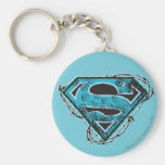 Supergirl Logo Barbed Wire and Flowers Basic Round Button Keychain