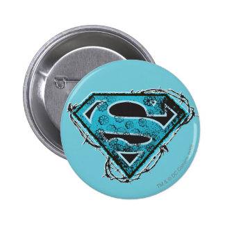Supergirl Logo Barbed Wire and Flowers Button