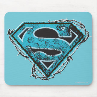 Supergirl Logo Barbed Wire and Flowers Mouse Pad