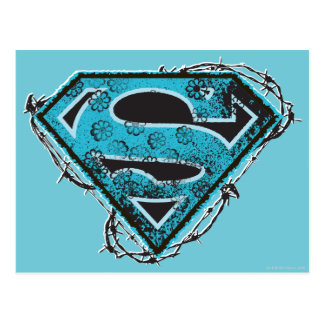 Supergirl Logo Barbed Wire and Flowers Postcard