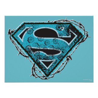 Supergirl Logo Barbed Wire and Flowers Poster
