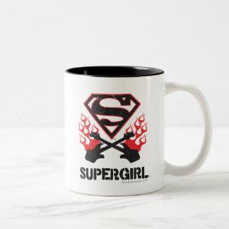 Supergirl Logo Black Flaming Guitars Two-Tone Coffee Mug