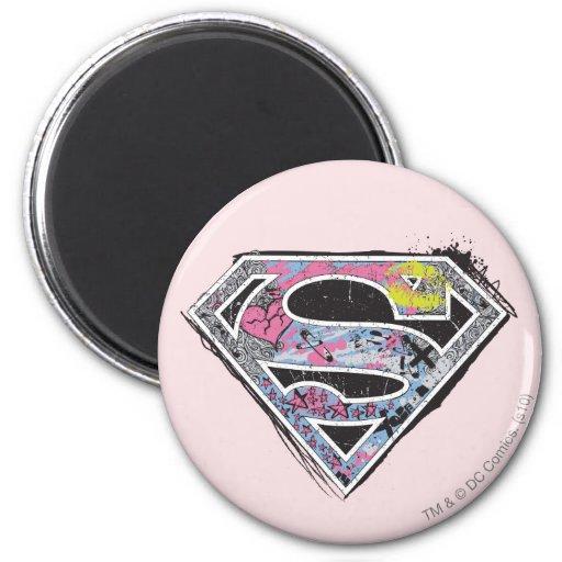 Supergirl Logo Collage Fridge Magnet