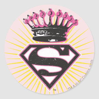 Supergirl Logo with Crown Classic Round Sticker