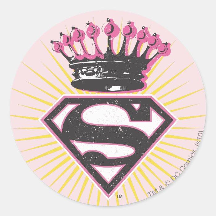 Supergirl Logo with Crown Classic Round Sticker