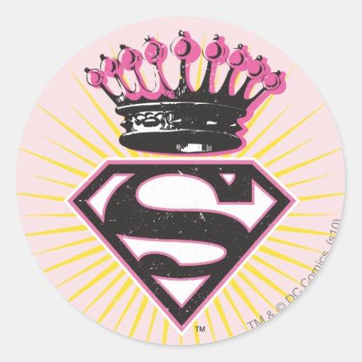 Supergirl Logo with Crown Round Sticker