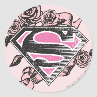 Supergirl Logo with Roses Classic Round Sticker