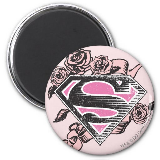 Supergirl Logo with Roses Fridge Magnets