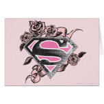 Supergirl Logo with Roses Greeting Card