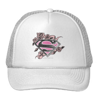 Supergirl Logo with Roses Mesh Hats