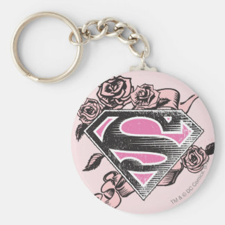 Supergirl Logo with Roses Basic Round Button Keychain