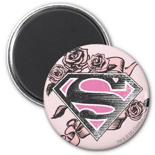 Supergirl Logo with Roses Fridge Magnets