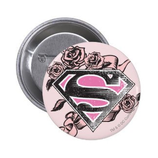 Supergirl Logo with Roses Pinback Button