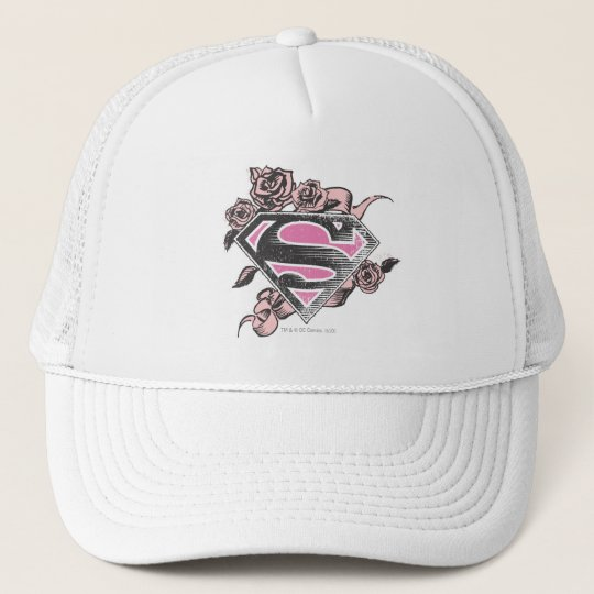 Supergirl Logo with Roses Trucker Hat