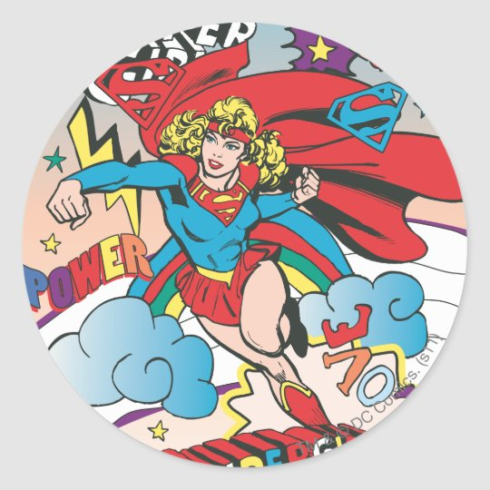 Supergirl Love Conquers Classic Round Sticker
