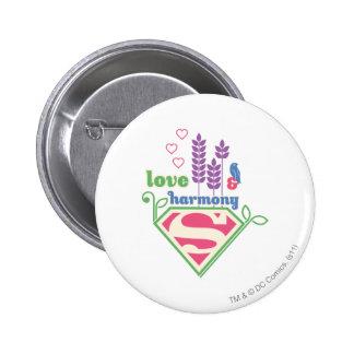 Supergirl Love & Harmony Button