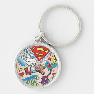 Supergirl Love Silver-Colored Round Keychain