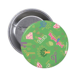 Supergirl Love Pattern Buttons