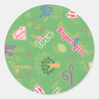 Supergirl Love Pattern Classic Round Sticker