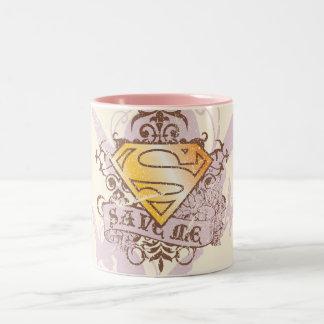 Supergirl me ahorra taza de café de dos colores