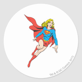 Supergirl on the Move Classic Round Sticker