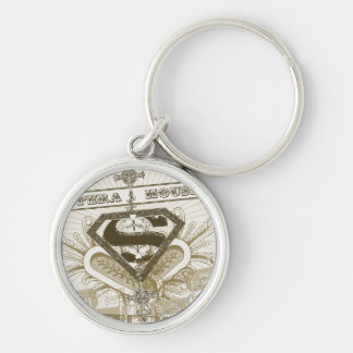Supergirl Opera House Silver-Colored Round Keychain