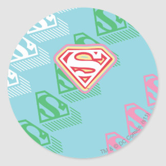 Supergirl Pastel  Repeat Pattern Classic Round Sticker